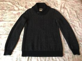 Men's Selected Homme Shawl Neck Knitted Jumper Navy Size L