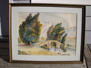 Vintage Large Water Color PAINTING date 1940 Signed