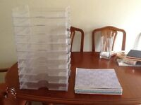 STACK OF 10 SCRAPBOOKING PAPER TRAYS