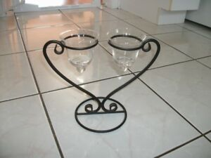 2 Cast Iron Glass Candle Holders