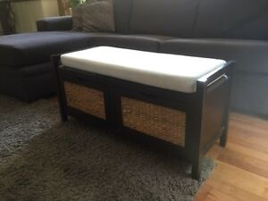 Cream Timber Ottoman (with cane drawers) Waverton North Sydney Area Preview