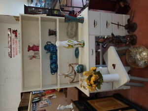 white painted desk/ hutch