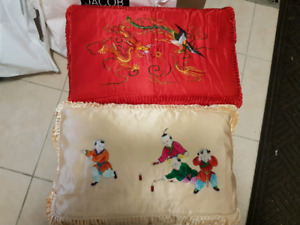 **Brand New Chinese Silk pillow cases with pillow**
