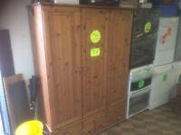 3 door pine wardrobe with drawers