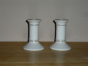 pair of white Porcelain Candle Holders : Excellent Condition
