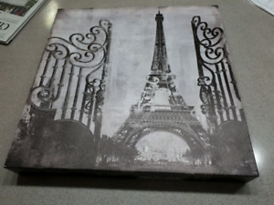 Eiffel Tower Paris black and white print on canvas-$10