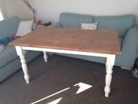 Solid wood farmhouse dining table