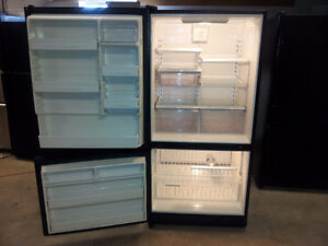 LARGE BLACK DOUBLE DOOR AMANA FRIDGE WITH BOTTOM FREEZER
