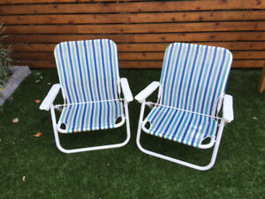 Two low Eddie Bauer deck or camp chairs