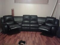 Leather theatre seating couch  2 recliner