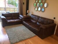 3 and 2 seater brown leather sofas £100 collection only