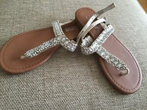 Justice girls sandals silver gold sequins beads