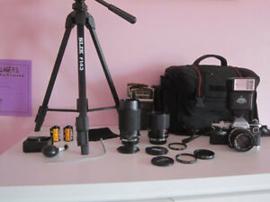 Olympus OM10 Film Camera; 3 Lenses, Flash, Bag, Tripod