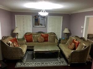 Full Living Room Set & Master Bedroom King Size Bedset