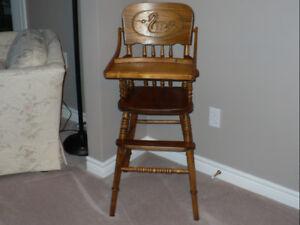 Antique Oak Pressed Back High Chair - Swan Design