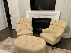 BARRYMORE  Tufted Chairs and Over-sized Ottoman