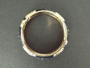 Navy Blue & Gold Enamel Bangle/Bracelet Jewelry