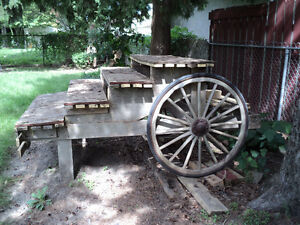 """Cart with 2 vintage 32"""" wooden wagon wheels"""