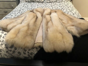 Custom made 3/4 length silver fox fur coat