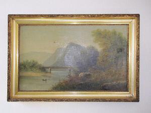 Antiquité paysage a l'huile sur toile ± 1860