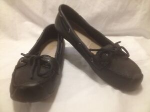 Ladies Keen Black Leather Deck Shoes 8M