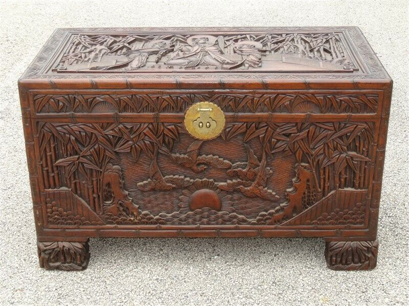 Ornate Hand Carved Figural Chinese Blanket Chest * Made In China