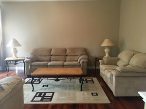 Sofa + Coffee Tables + Lamps!
