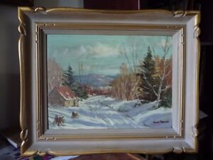 Gleaming Winter Road, Quebec Artist, Andre Marceau 1970's