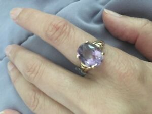 14k large Amethyst ring $200