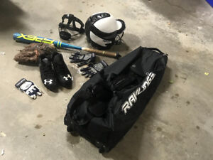 Baseball bat, glove, bag, shoes, helmet