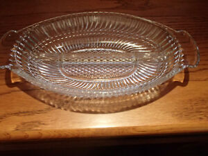 Clear Glass Relish Dish - 2 Part - As New Sarnia Sarnia Area image 4