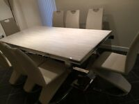 8 seater marble dining table with chrome legs