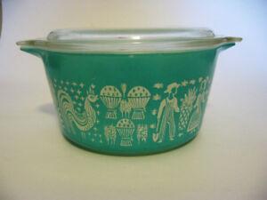 Vintage Pyrex Turquoise Amish Butterprint Casserole 473 Qt Casse