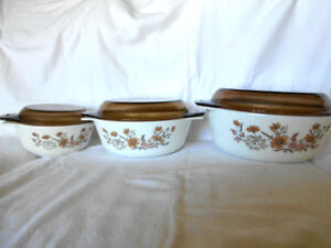 Vintage Pyrex Country Autumn Casserole Dishes with Brown Lids