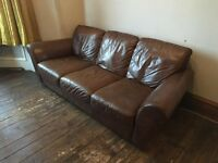 Lovely Quality Italian Brown Leather Three Seater Sofa Couch with Footstool / Pouffe
