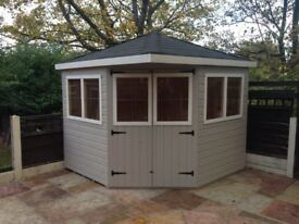 8ft x 8ft corner summerhouse/ shed/ garden building with tiled roof