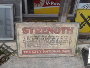 City National Bank 1920s wood sign