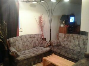 a set used couches  lamp wooden coffee table