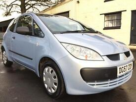 2007 57 Mitsubishi Colt 1.1 CZ1 (A/C) 3 Door Met illusion Blue **LOW MILEAGE**