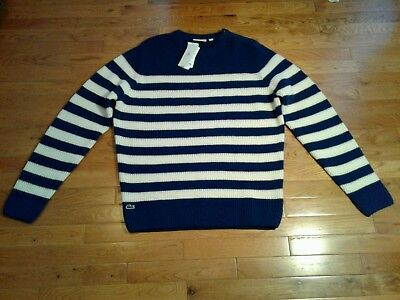 NWT Lacoste Men's Pure New Wool Cream And Teal Blue Striped Crewneck Sweater  XL