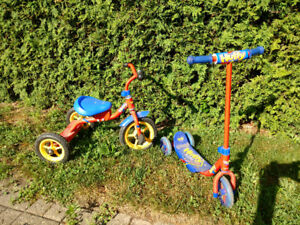 Kids bicycle and scooter combo