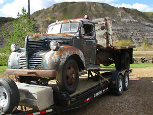 1947 Dodge 3 ton flat deck truck with a Calgary Power Winch