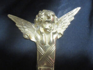 Vintage Brass Wall Candle Sconses with Angel