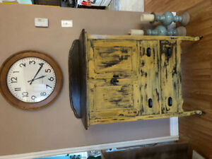 Antique wooden tallboy dresser