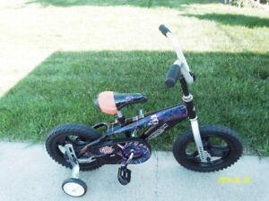 """Boys 12"""" bike coaster breaks training wheels."""