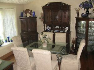 Beautiful Wrought Iron Glass Dining Table Set