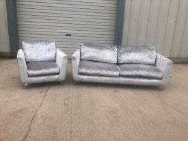 Silver crushed velvet 3+1 seater sofas couches suite 🚚🚚