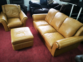 Light tan 3 seaters sofa arm chair and foot stool all real leather