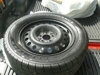 4 NEW 235/55 R17  TIRES AND 4 NEW STEEL RIMS FOR SALE