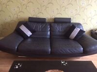 Full leather 3 seater sofa and 2 chairs
